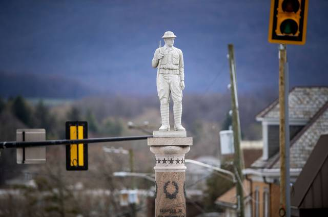 The Doughboy, one of the most recognizable veterans monuments in Westmoreland County is a life size granite statue of a World War I U.S. Army soldier. It is located on the traffic diamond along Main Street in Mt. Pleasant.