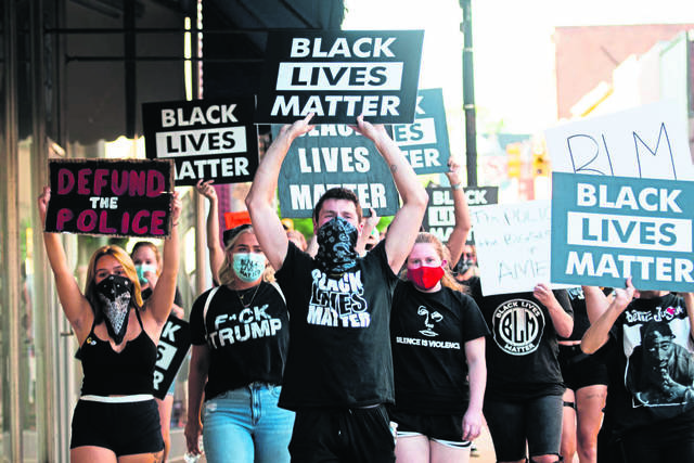 Westmoreland Diversity Coalition and the University of Pittsburgh at Greensburg plan six online sessions addressing racism, diversity and other social justice issues. Here, Black Lives Matter demonstrators march in downtown Greensburg on Aug. 20.