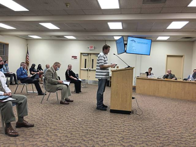 Craig Yurchison of North Huntingdon, who owns backyard chickens, argues for township commissioners to pass a revised ordinance permitting chickens in residential neighborhoods.
