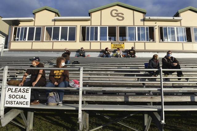 The stands have a few fan before the Greensburg Salem Knoch game Friday, Sept. 18, at Offutt Field in Greensburg.