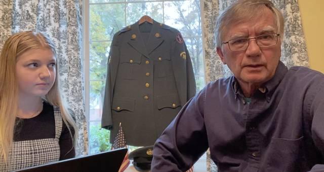 Franklin Regional Middle School student Emerson Simon interviews her grandfather, Vietnam War veteran Jerome Hadel.
