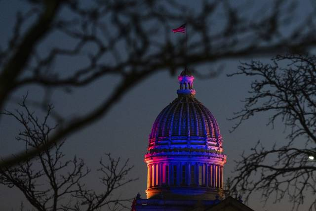 The dome of the Westmoreland County Courthouse is lit up in Greensburg.