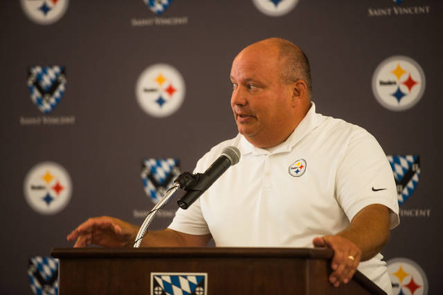 Greater Latrobe High School athletic director Mark Mears speaks during a news conference for the 53rd Steelers Training Camp on July 18, 2018, at Saint Vincent College.
