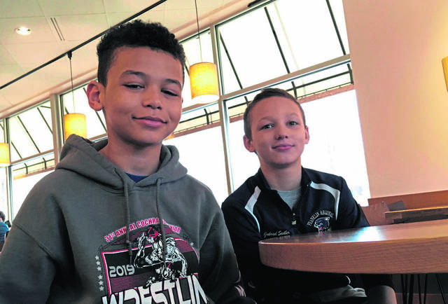 From the left, Kaydon Ferrell and Gabe Sadler of Murrysville pose for a photo on Friday, March 29, 2019.
