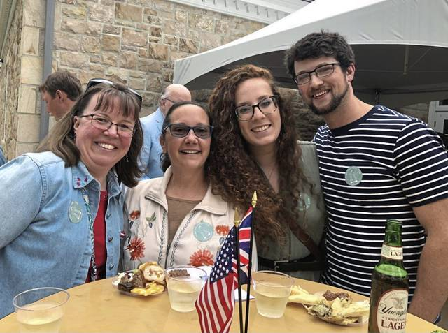 Stephanie Shandel (left) of Donegal, Cari Frei of Ligonier and Rachel Matyi and Matthew Bielic, both of Acme, at the July 2 Cannons and Cocktails party at Fort Ligonier.