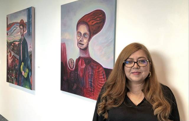 """Artist Sheila Cuellar-Shaffer of Hempfield draws on her own immigrant experience for works in """"Creation out of Chaos"""" at The Westmoreland Museum of American Art."""