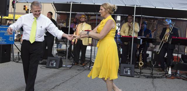 Professional dancers Jerry and Judy Gresko boogie to the music of Neon Swing X-perience during Latrobe Art Center's 2019 Yellow Tie Gala.