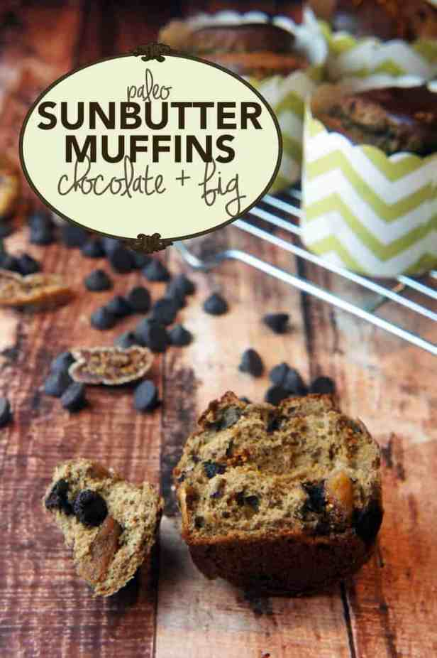 Paleo Chocolate Chip And Fig Sunbutter Muffins