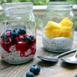 creamy coconut milk with seeds, berries or pineapple for breakfast