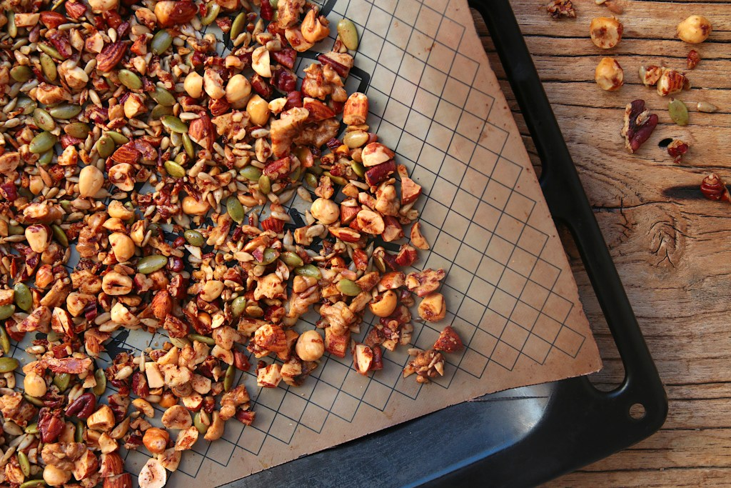 nut granola on a baking tray, just pulled out of the oven