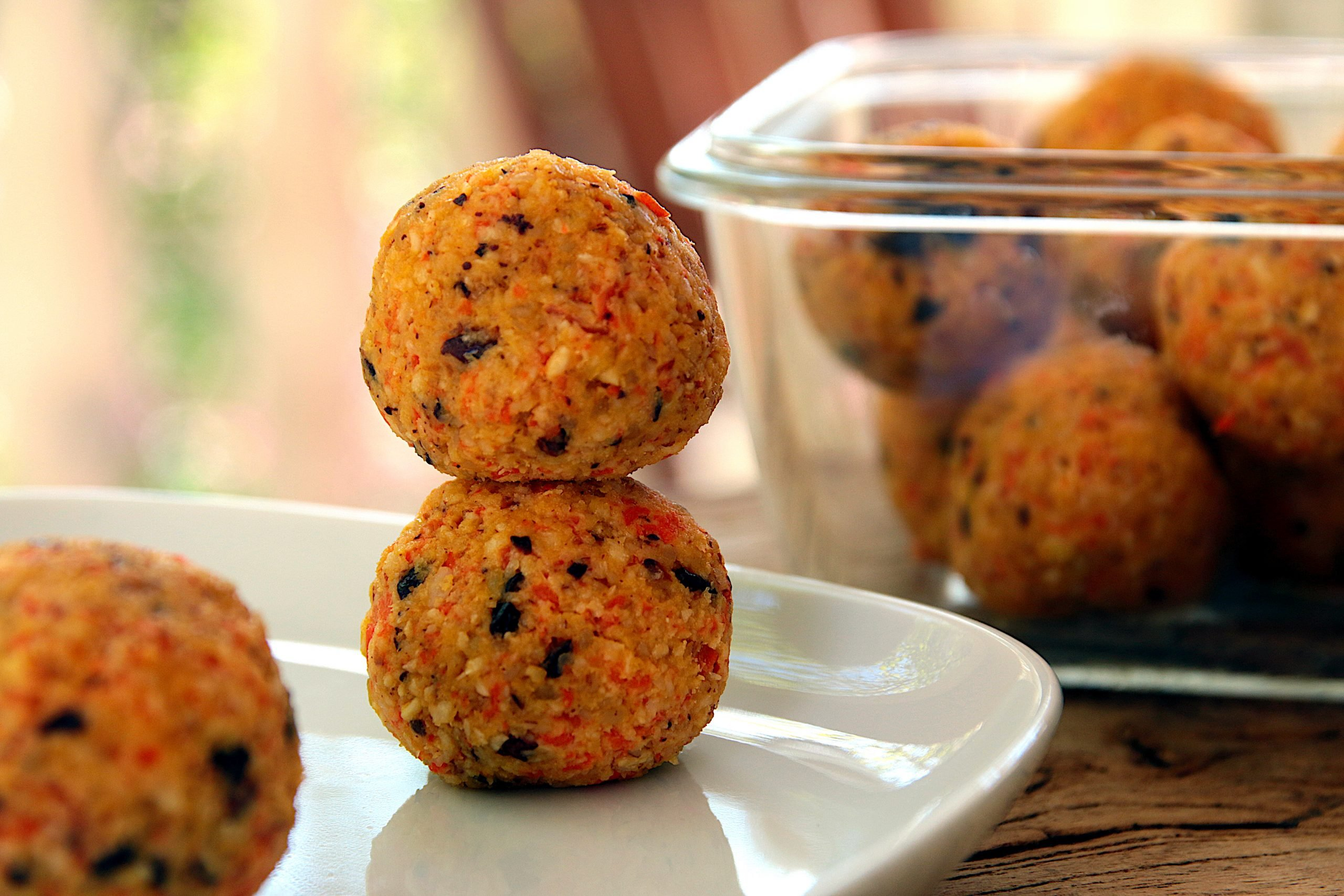 carrot coconut balls with dark chocolate