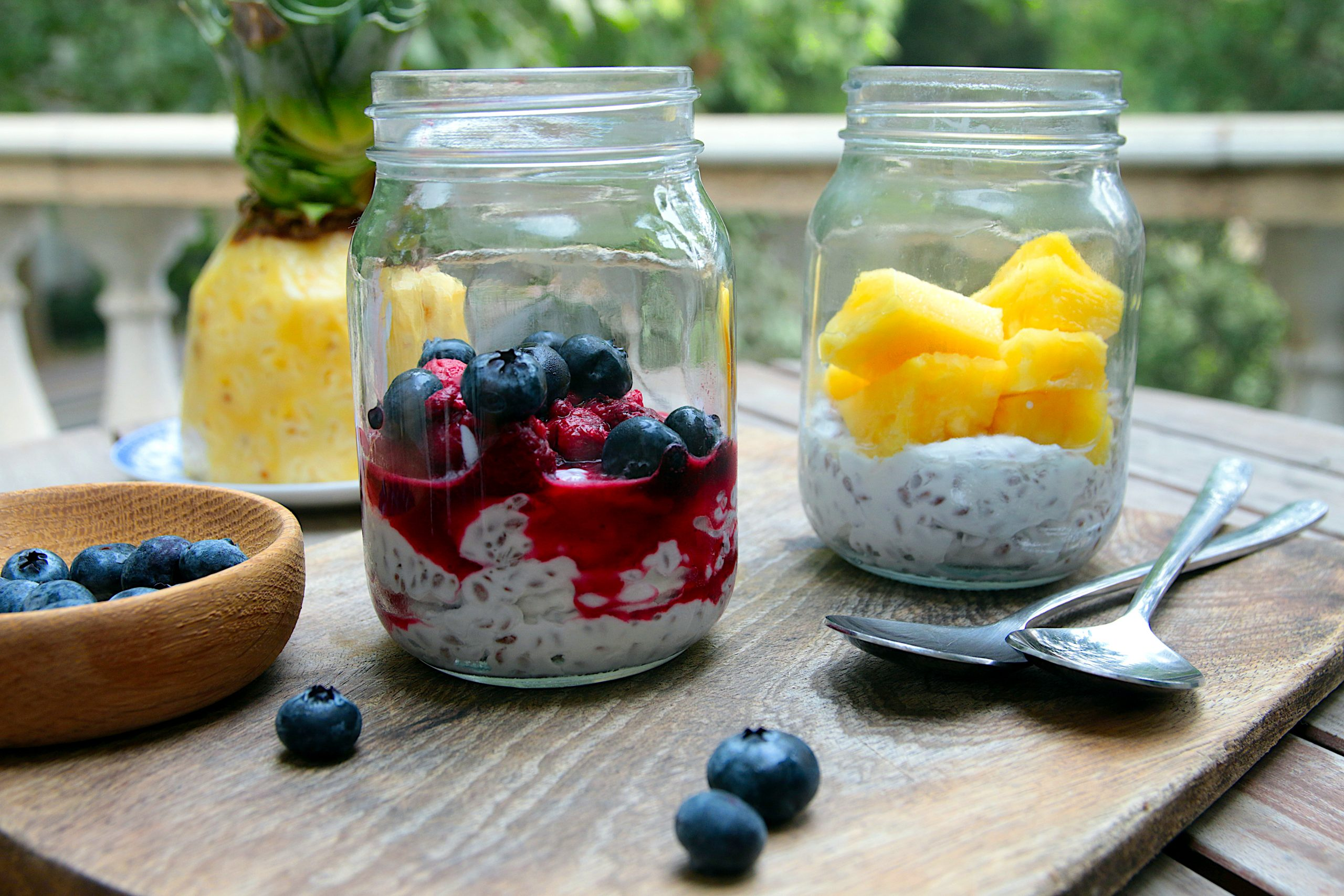 creamy coconut milk with seeds and fruit