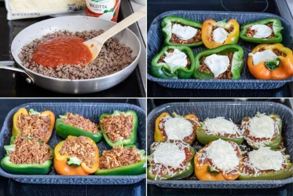 How to make lasagna stuffed peppers composite: add sauce to ground beef, layer ground beef, ricotta cheese and ground beef again, top with ricotta and mozzarella cheese