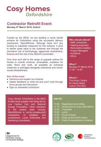 Cosy Homes Oxfordshire – Supplier Engagement Event @ The King's Centre