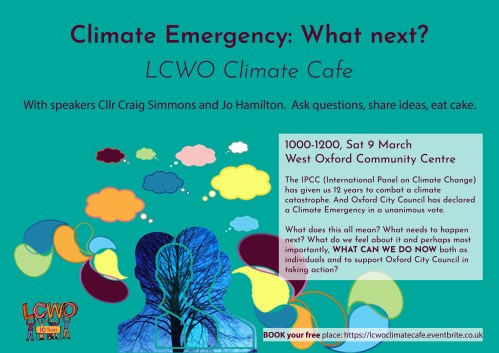 LCWO Climate Cafe: Climate Emergency – what next? @ West Oxford Community Centre