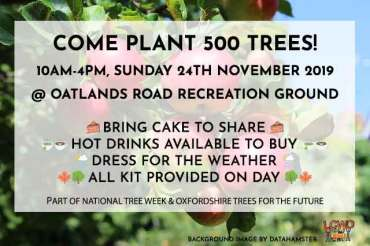 West Oxford Tree Planting update – plant trees on November 24th!