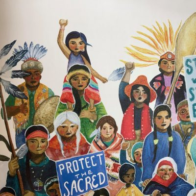 'We are water protectors.  WE STAND!  The balck snake is in for the fight of its life.'