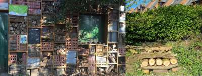 Inspiration for our bug hotel on the left and the WON version on the right