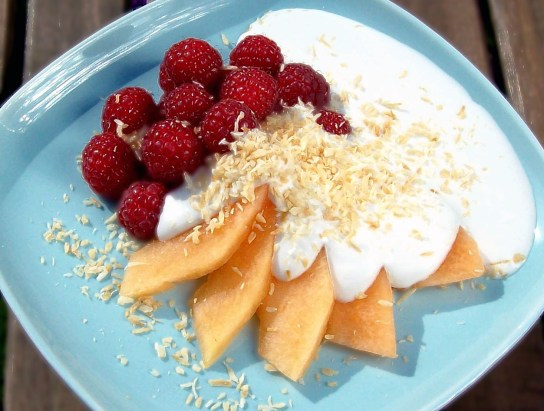 Melon and Raspberry Salad with Vanilla Coconut Sauce - Retro