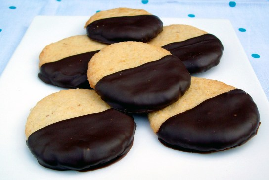 Vanilla Toffee Butter Cookies Dipped in Dark Chocolate
