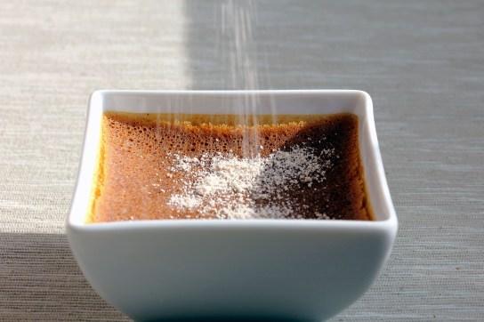 Easy Low-Carb Pumpkin Custard, Sprinkling Brown Sugar Substitute on Top