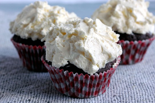 Low-Carb Chocolate Muffins with Low-Carb Marshmallow Fluff Frosting, Frosting Smeared