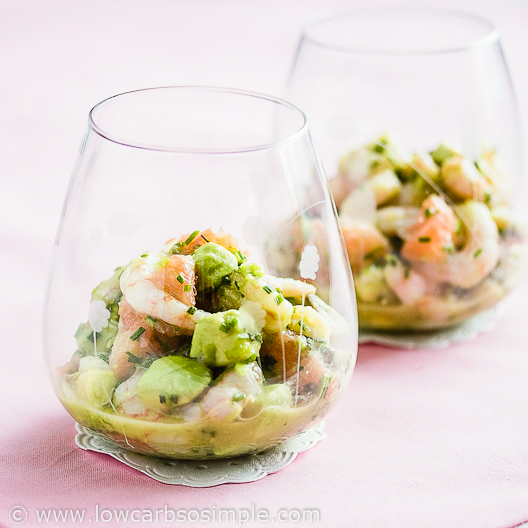 Image of Shrimp Avocado and Red Grapefruit Appetizer   Low-Carb, So Simple