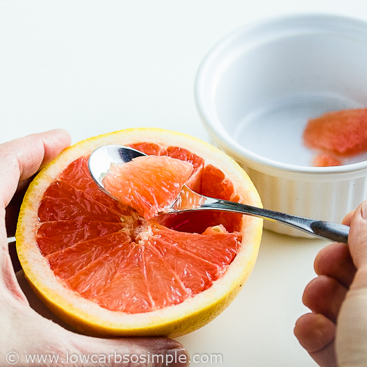 Image of Shrimp Avocado and Red Grapefruit Appetizer; Scooping the Pulp | Low-Carb, So Simple