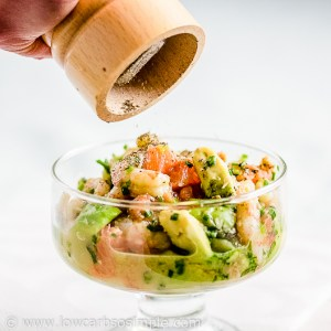 Shrimp Avocado and Red Grapefruit Appetizer; Grounding the Black Pepper on Top   Low-Carb, So Simple