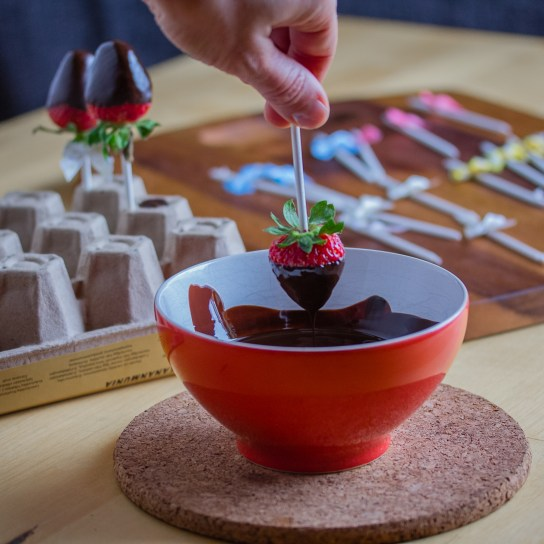 Chocolate Dipped Strawberry Pops; Dipping a Strawberry in Melted Chocolate | Low-Carb, So Simple!