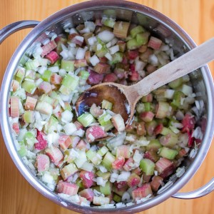 Rhubarb Chutney, All Ingredients Mixed   Low-Carb, So Simple!