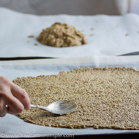 Gluten-Free, Dairy-Free Crisp Bread; Spreading the Batter with Spoon | Low-Carb, So Simple!