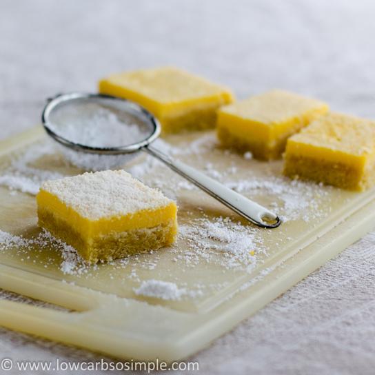 Luscious Low-Carb Lavender Lemon Bars; Dusting the Bars | Low-Carb, So Simple!