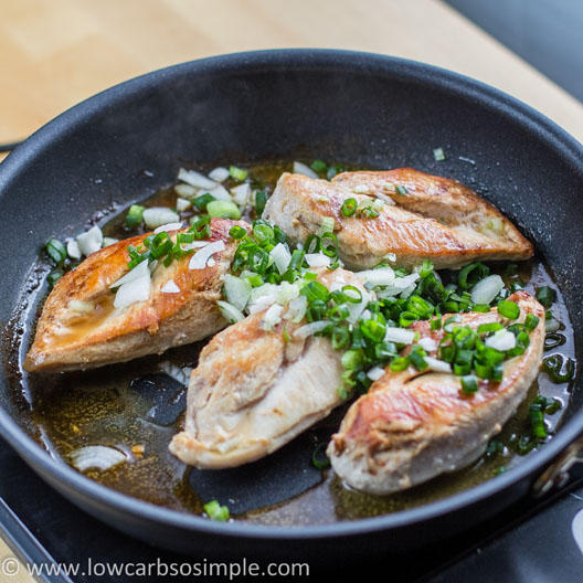 Chicken in Creamy Green Onion Sauce; Green Onion Added | Low-Carb, So Simple!
