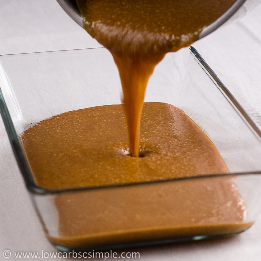 Palatable Peanut Butter Bars; Pouring the Mixture into Glass Baking Dish | Low-Carb, So Simple!