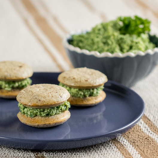 Cheesy Kale Spread; Filling in Savory Whoopie Pies | Low-Carb, So Simple!