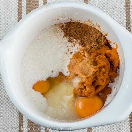 Crustless Low-Carb Pumpkin Pie; Ingredients in a Bowl | Low-Carb, So Simple!
