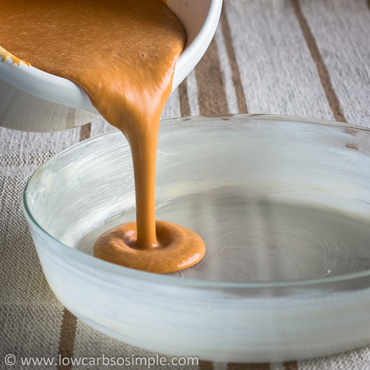 Crustless Low-Carb Pumpkin Pie; Pouring the Pumpkin Pie Mixture into the Greased Baking Dish   Low-Carb, So Simple!