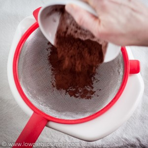 Chocolate Rum Balls; Sifting in the Cocoa Powder | Low-Carb, So Simple!