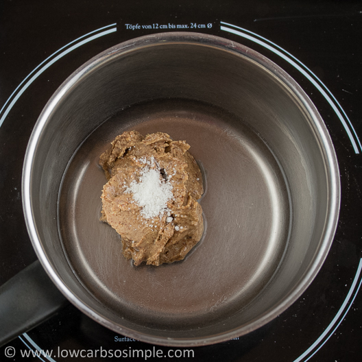 Gluten-Free Hot Cereal; Almond Butter, Salt and Water in a Saucepan | Low-Carb, So Simple!