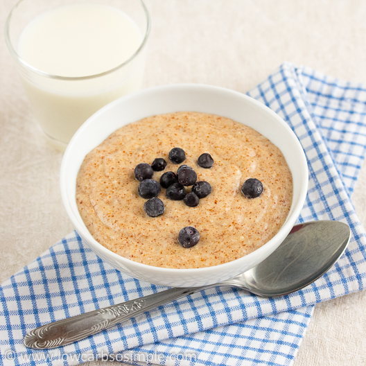 Gluten-Free Hot Cereal with Frozen Wild Blueberries   Low-Carb, So Simple!