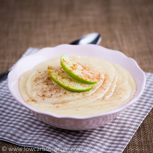 Gluten-Free Hot Cereal; Almond Butter from Blanched Almonds, Topped with Apple Slices and Cinnamon | Low-Carb, So Simple!