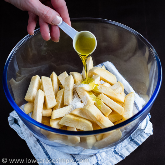 Turnip Fries; Adding Salt and Olive Oil| Low-Carb, So Simple!