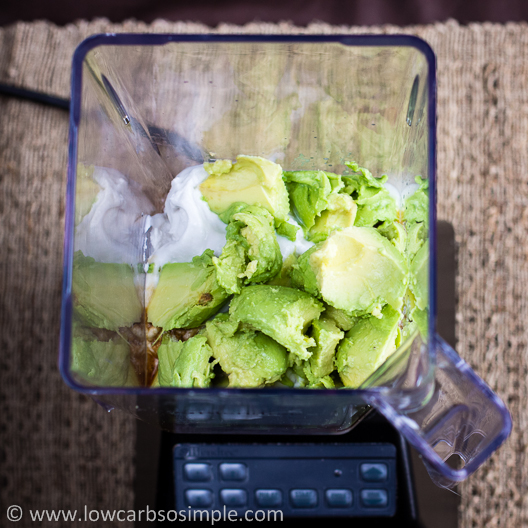 Instant Avocado Vanilla Pudding; Ingredients in a Blender Jar | Low-Carb, So Simple!