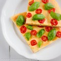 Flat Bread Deep Pan Pizza Crust; Flat Bread with Cherry Tomatoes and Fresh Basil | Low-Carb,So Simple!