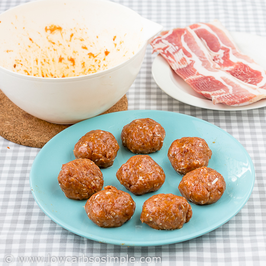 Image of Bacon Wrapped Chicken Meatballs; Meatballs Ready to Be Wrapped | Low-Carb, So Simple