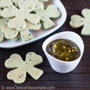Sugar-Free Sweet Chili Sauce; Made from Jalapenos with Green-Colored Sour Cream and Onion Crackers | Low-Carb, So Simple