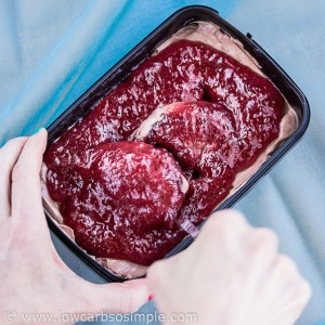Dark Chocolate Raspberry Swirl Cheesecake No-Churn Ice Cream; Making Swirls | Low-Carb, So Simple