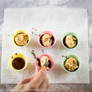 Frozen Peanut Butter Cups; Spooning PB Mixture | Low-Carb, So Simple