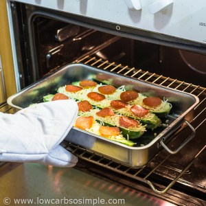 Pizza Stuffed Zucchini; Putting into oven | Low-Carb, So Simple
